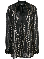 Haider Ackermann Floral Embroidery Sheer Blouse Black