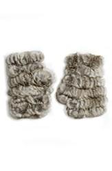 Jocelyn Women's Genuine Rabbit Fur Fingerless Mittens Natural Grey