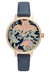 New Look Neon Flash Floral Dial Watch Bright Blue
