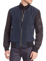 Ovadia And Sons Two Tone Bomber Jacket Navy Black