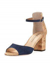 Neiman Marcus Brackston Suede City Sandal Blue