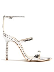 Sophia Webster Rosalind Crystal Heel Leather Sandals Silver