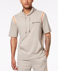 Inc International Concepts I.N.C. Hooded Short Sleeve Sweatshirt Tiramisu