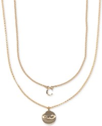 Ivanka Trump Gold Tone 2 Pc. Set Initial And Disc Pendant Necklaces Crystal C