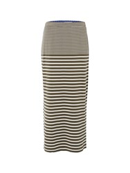 White Stuff Agra Stripe Jersey Skirt Khaki
