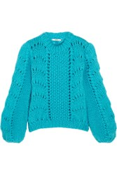 Ganni Julliard Mohair And Wool Blend Sweater Bright Blue