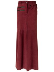 Andrea Bogosian Maxi Skirt Women Chamois Leather P Red