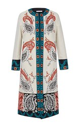 Oscar De La Renta Long Sleeve Jewel Neck Embroidered Paisley Coat White Tangerine Blue