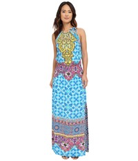 Hale Bob Salsa On The Beach Drop Waist Maxi Blue Women's Dress
