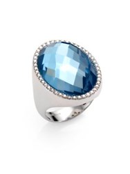 Roberto Coin Cocktail Blue Topaz Diamond And 18K White Gold Ring