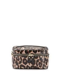 Diane Von Furstenberg Faux Leather Leopard Print Cosmetics Bag Black Brown