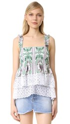 Tory Burch Patterned Georgette Top White Garden Party