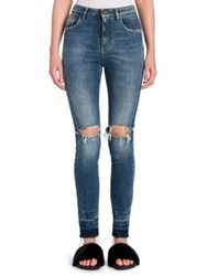 Dolce And Gabbana Distressed Skinny Jeans Medium Blue Denim