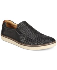 Johnston And Murphy Men's Mcguffey Woven Slip On Loafers Men's Shoes Black