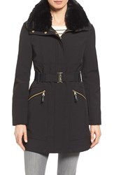 Via Spiga Women's Detachable Faux Fur Collar Soft Shell Coat
