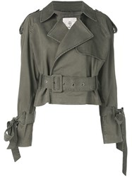 Anine Bing Aria Cropped Trench Jacket Green