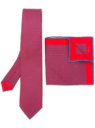 Brioni Printed Tie And Pocket Square Set Red