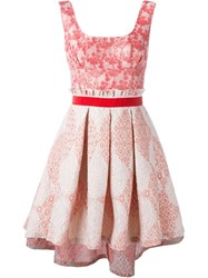 Christian Pellizzari Jacquard Pleat Dress Red