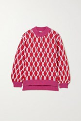 Stine Goya Anders Cable Knit Wool Blend Sweater Pink