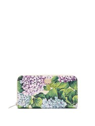Dolce And Gabbana Hydrangea Print Zip Around Leather Wallet Purple Multi
