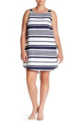 Bb Dakota Sleeveless Striped Trapeze Dress Plus Size Multi