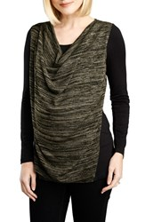 Women's Maternal America Cowl Neck Nursing Top Black Olive Space Dye