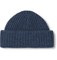 Oliver Spencer Dock Ribbed Wool Beanie Storm Blue