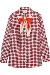 Gucci Pussy Bow Printed Silk Twill Shirt Red