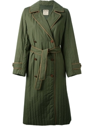 Celine Vintage Single Breasted Trench Coat Green