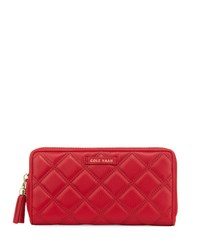 Cole Haan Benson Quilted Leather Continental Wallet Crimson