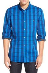 French Connection 'Bickham' Trim Fit Plaid Long Sleeve Sport Shirt Snorkel Blue