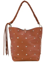 Red Valentino Studded Stars Shoulder Bag Women Calf Leather One Size Brown