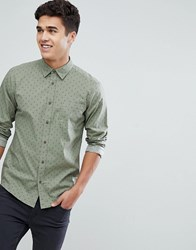 Solid Shirt In Green With Tonal Print Cream