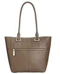 Tignanello Perfect Pockets Leather Medium Tote Shiitake