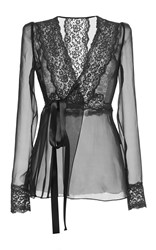 Dolce And Gabbana Silk Blend Chiffon Lace Wrap Blouse Black