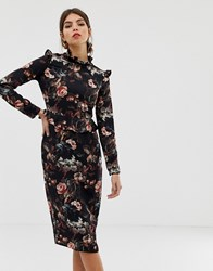 Hope And Ivy Floral Ruffle Neck Dress Navy