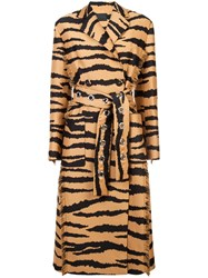 Proenza Schouler Tiger Jacquard Belted Coat Brown