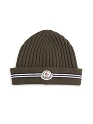 Moncler Ribbed Virgin Wool Beanie Olive