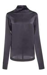 Nina Ricci Mock Neck Satin Blouse Grey