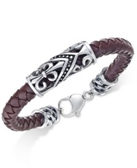 Sutton By Rhona Sutton Men's Stainless Steel Brown Leather Bracelet Silver