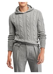 Ralph Lauren Purple Label Cable Knit Hoodie Sweater Grey