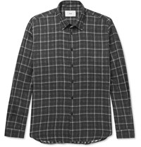 Folk Slim Fit Plaid Cotton Shirt Gray