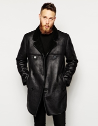 Asos Leather Look Jacket With Faux Shearling Black