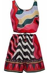 M Missoni Printed Cotton Voile Coverup Set Red