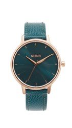 Nixon Lux Life Kensington Leather Watch Rose Gold Teal