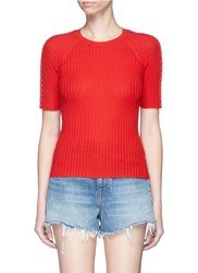 Alexander Wang Pierced Eyelet Rib Knit Short Sleeve Top Red