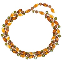 Susan Caplan Vintage 1950S Vintage Kramer Swarovski Crystals Floral Necklace Orange Green