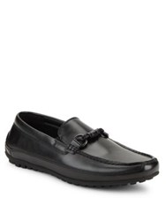 Black Brown Quenton Faux Leather Loafers Black