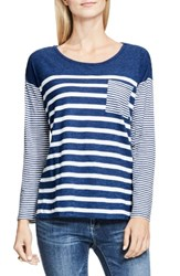 Vince Camuto Women's Two By Stripe Pocket Tee Indigo Heather