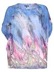 Samya Plus Size Cold Shoulder Batwing Top Blue